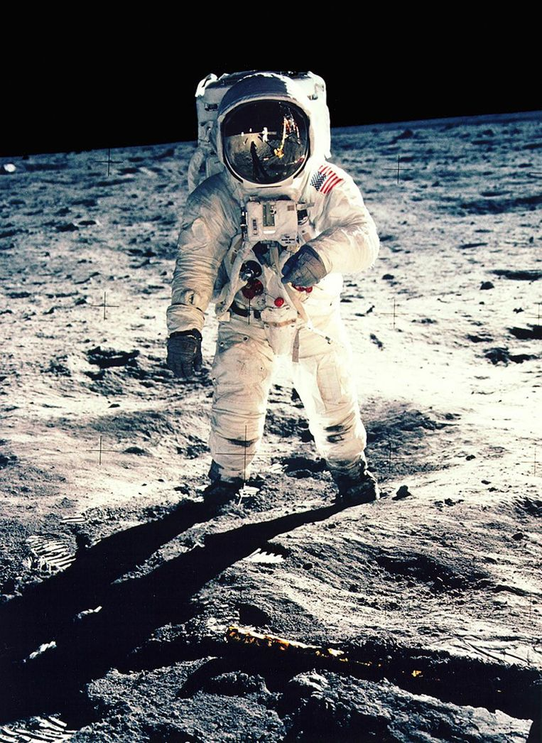 Buzz Aldrin op de maan tijdens de Apollo 11-missie in 1969. Beeld UNKNOWN