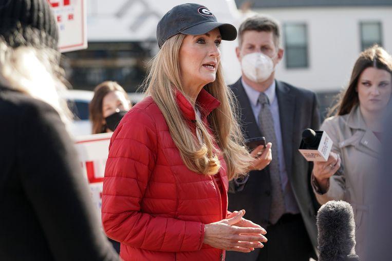 Republikein Kelly Loeffler (50), een ondernemer die in 2019 in de Senaat werd benoemd. Beeld REUTERS