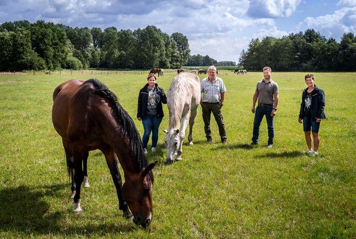 Vlnr Petra, Hans, Peter en Maria van der Kruis bij enkele paarden in de wei aan de Heggerdijk in Leenderstrijp. Zo hebben ze in totaal 200 hectare.