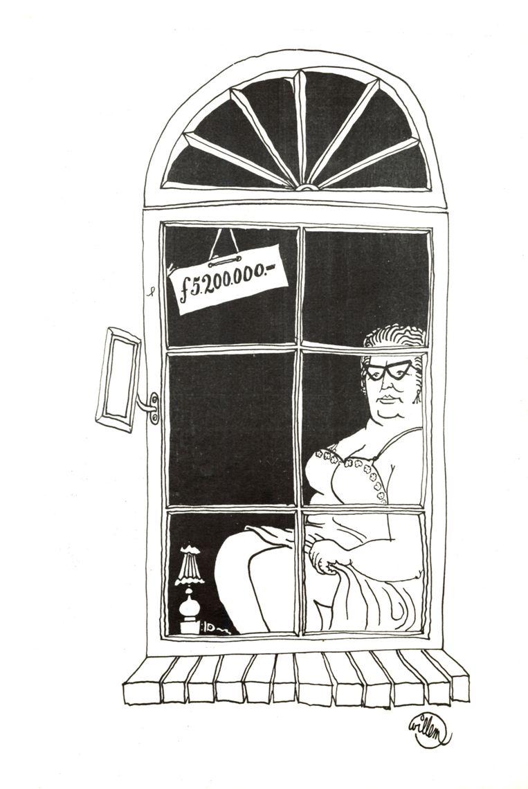 Koningin Juliana afgebeeld als prostituee in 1966 door tekenaar Willem in het provoblad God, Nederland en Oranje. Boete 200 gulden. Beeld Willem / Internationaal Instituut voor Sociale Geschiedenis