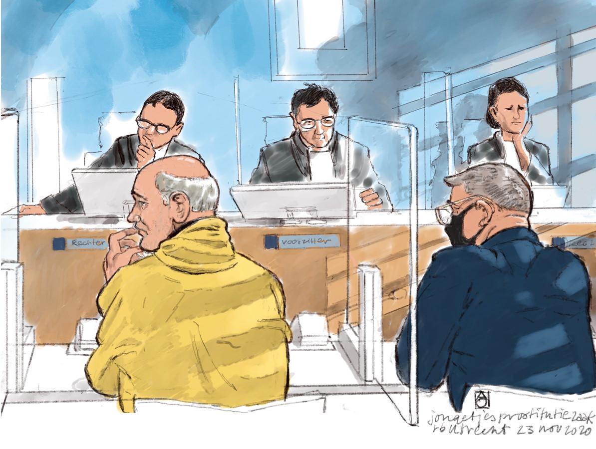 Rechtbanktekening van Nico L. en Romeo A. in de rechtbank van Utrecht.  COPYRIGHT ALOYS OOSTERWIJK