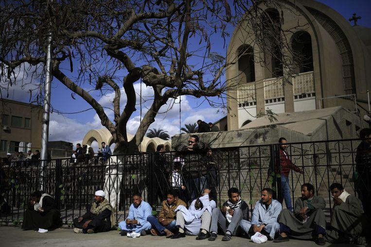 Koptische christenen vrijdag in Sirte. Beeld ap
