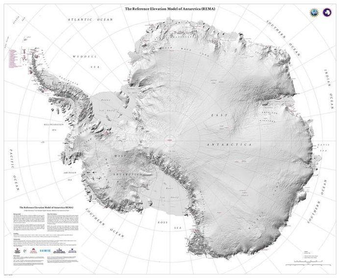 De nieuwe, gedetailleerde kaart van Antarctica.