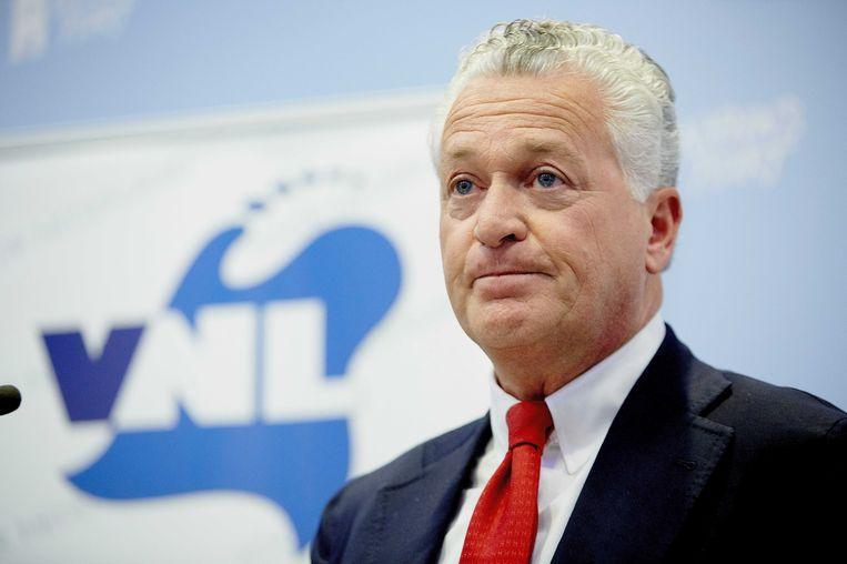 Bram Moszkowicz tijdens de persconferentie van de politieke partij VNL. Beeld anp