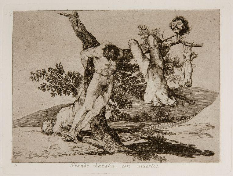 Francisco Goya's 'Grande hazaña! Con muertos' ('Wat een heldendaad! Met lijken') uit de gravurereeks 'Los desastres de la guerra' ('De gruwel van de oorlog'). Beeld MSK Gent