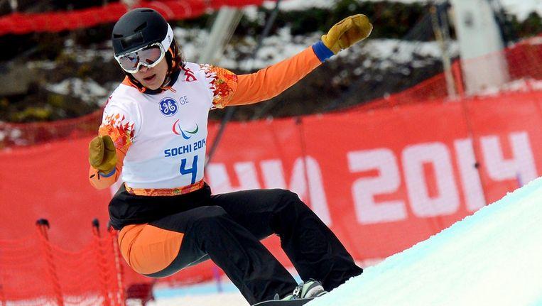 Bibian Mentel tijdens haar gouden race in Sotsji. Beeld afp