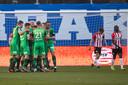 De Graafschap viert de 0-1 van Jordy Tutuarima.