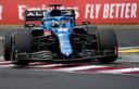 Fernando Alonso in actie tijdens de Grand Prix van Hongarije.