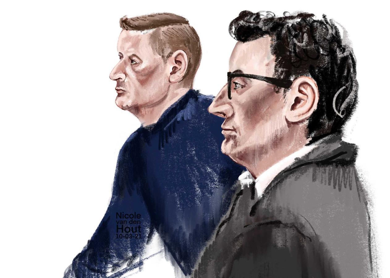 Verdachten Martin van de B. (voor) en Mathijs IJ. (achter.)