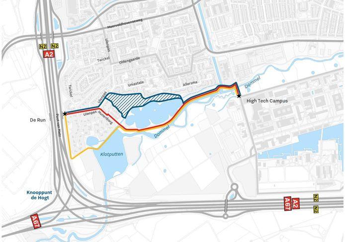 Varianten van de route voor het snelfietspad High Tech Campus - ASML die de gemeente Eindhoven wil bespreken met de wijkbewoners.