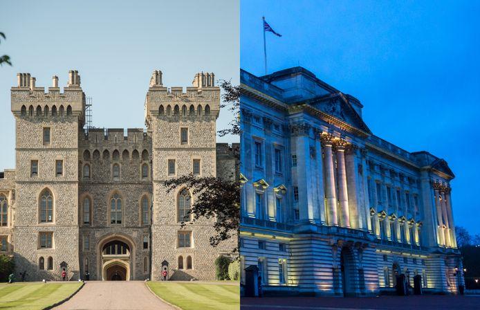 Windsor Castle (links) en Buckingham Palace.