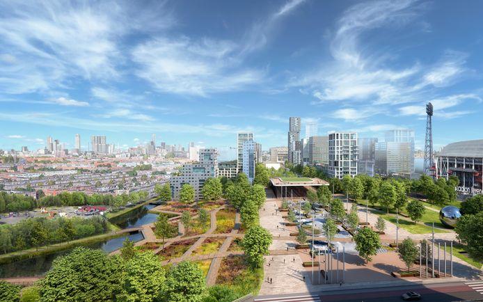 Het toekomstige Feijenoordpark tussen De Kuip en de oude wijken op Zuid. Aan de rand komen nieuwe woningen, sportvelden, waterpartijtjes en wandel- en fietspaden.