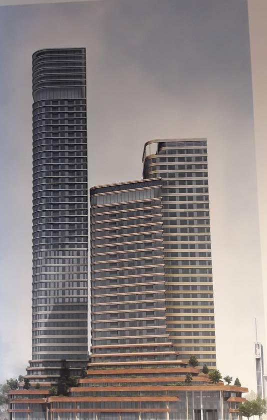 De nieuwste impressie van de drie torens (80, 110 en 170 meter) van District E, het plan van Amvest voor het Stationsplein in Eindhoven.