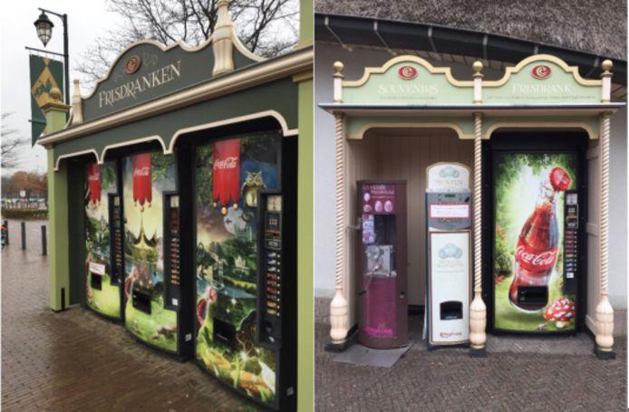 Links: de op kinderen gerichte sprookjesautomaten van Coca-Cola voor de ingang van het park die moeten worden aangepast. Rechts: Een zelfde soort Coca-Cola automaat in het park zelf