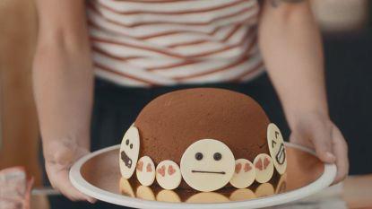 Bake My Day: Sofie Dumont verrast Len en Chinouk van Jong Geweld met chocolade emojitaart