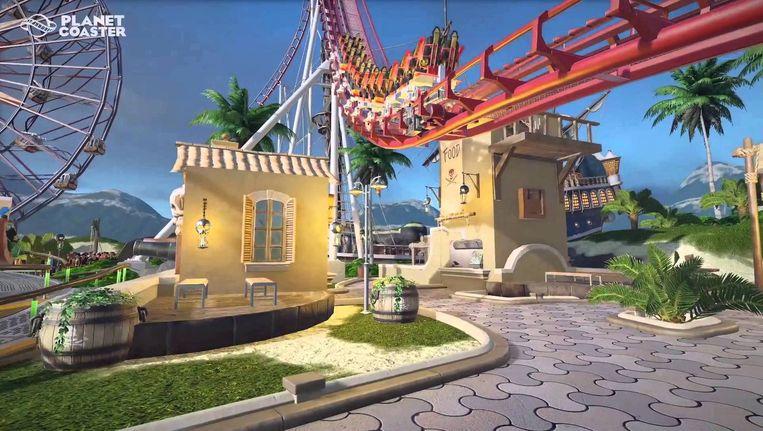 Een screenshot van het spel Planet Coaster. Lees het kader onderaan het artikel wat de educatieve waarde is van dit spel volgens Sem van Geffen van het Koning Willem I College in 's Hertogenbosch. Beeld