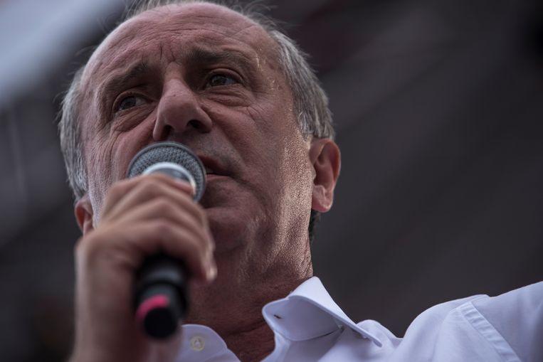 Muharrem Ince belooft een geduchte concurrent van Erdogan te worden tijdens de verkiezingen zondag. Beeld EPA