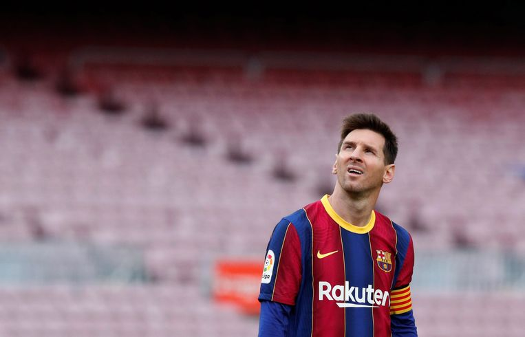 Lionel Messi in mei, in het shirt van Barcelona in de wedstrijd tegen Celta de Vigo.  Beeld REUTERS