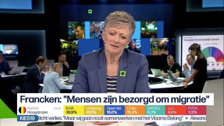 Martine Tanghe tijdens de verkiezingsshow op 26 mei 2019. Beeld VRT