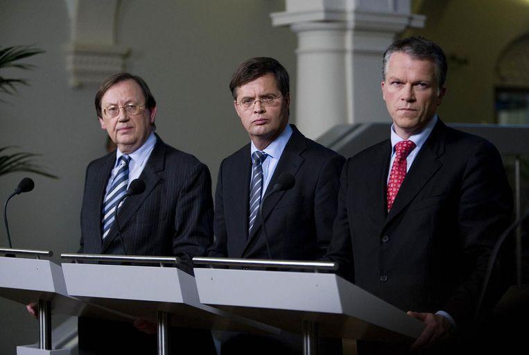 Wellink, Balkenende, Bos na de staatsovername van Fortis in 2008. Beeld WFA