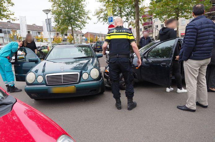 Een verkeersongeluk in 2018 op het Neptunupslein in Amersfoort, waar het vaak heel druk is.