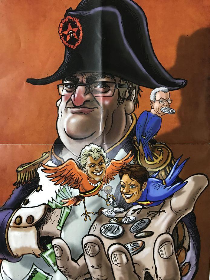 Uit de Lijst Dedecker-folder van 2017: Onder andere gemeentesecretaris Pierre Ryckewaert wordt afgebeeld als Napoleon, waarmee Dedecker de vermeende dubieuze procedure persoonlijk speelt.