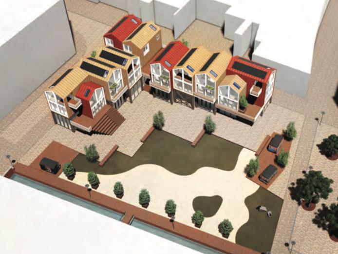 De geplande bebouwing op het stadsstrand. Het stadsstrand zelf is een impressie, over de invulling is nog niets besloten.