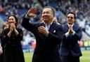 Leicester City-eigenaar Vichai Srivaddhanaprabha na de wedstrijd tegen Bournemouth vorig jaar.