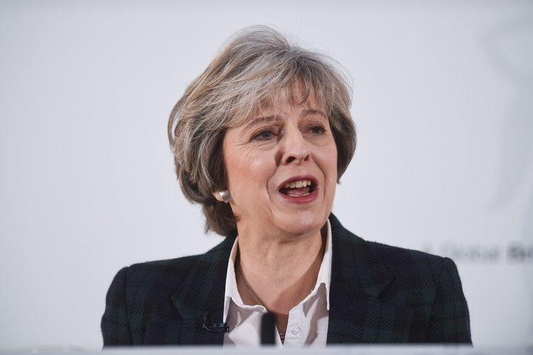 Brits premier Theresa May kondigde een 'harde' uitstap uit de Unie aan. Beeld Photo News