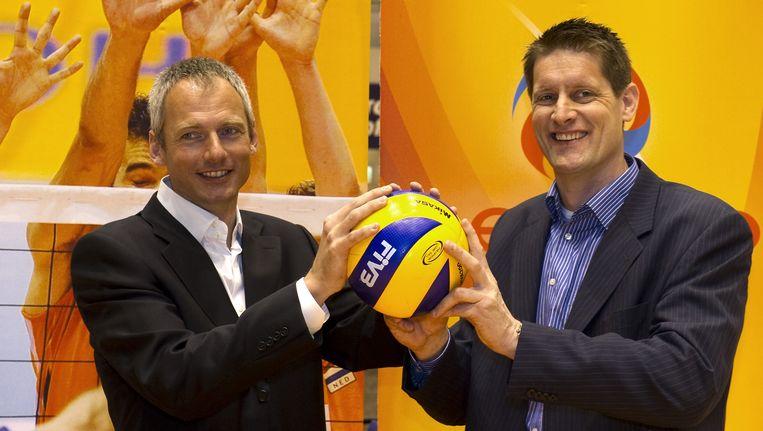 Bondscoach Edwin Benne (rechts) en zijn assistent Henk Jan Held. Beeld ANP