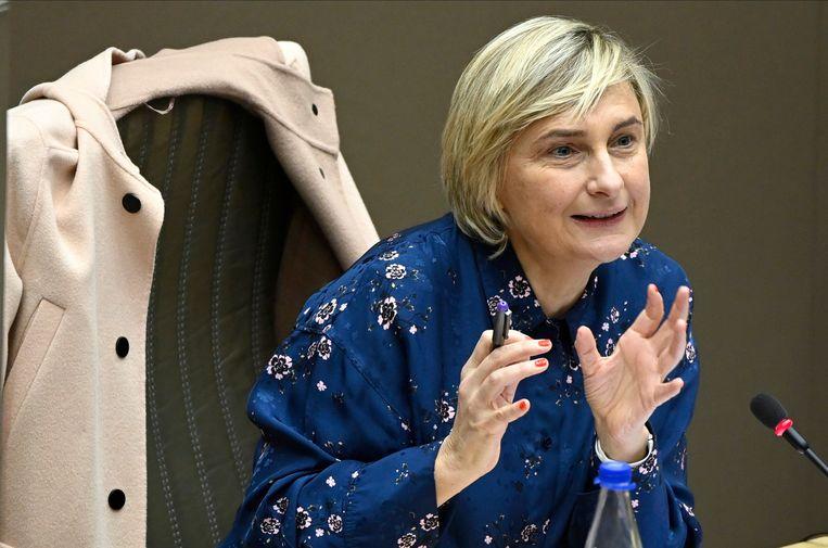 Vlaams minister van Wetenschap Hilde Crevits (CD&V). 'Onze doelstelling om het maatschappelijk draagvlak voor onderzoek en wetenschap te vergroten, krijgt door de coronacrisis een boost.' Beeld Photo News