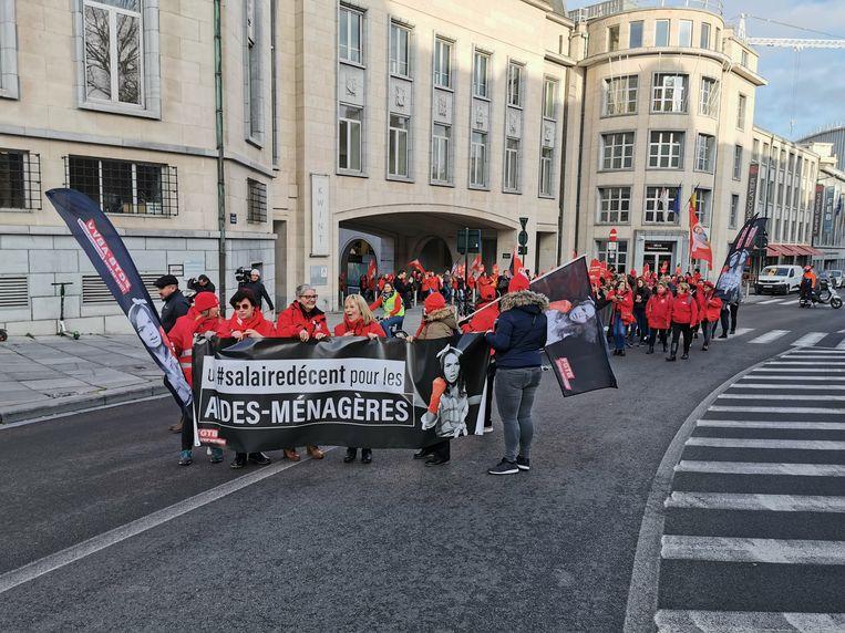 Betoging in Brussel van huishoudhulpen. Beeld BELGA