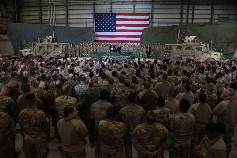 Donald Trump spreekt Amerikaanse militairen toe in Afghanistan, november 2019. Beeld AFP