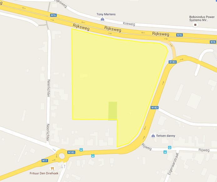 Het plan van KMO-zone Winning in Breendonk. De bewoners van de huizen onderaan de zone vechten tegen de plannen.