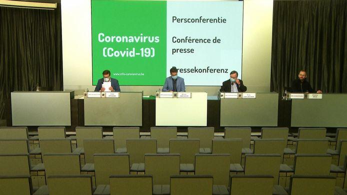 Archiefbeeld van een eerdere livestream van de persconferentie, ter illustratie.