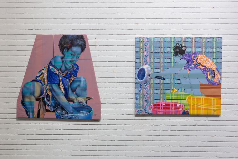 Twee werken uit de serie Shadow Women van Alida Ymele. Beeld Victor Wennekes