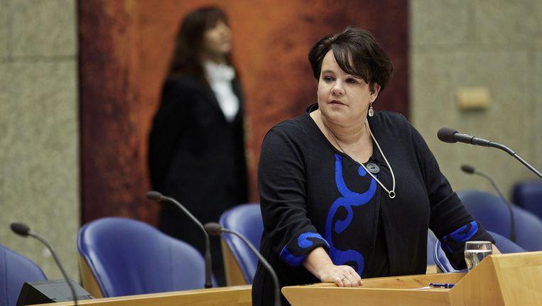 Staatssecretaris Sharon Dijksma (Economische Zaken) schrok van de beelden van PETA waar gillende angorakonijnen werden geplukt. Beeld anp