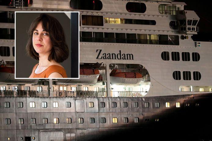 De MS Zaandam, het cruiseschip waarop singer-songwriter Alida uit Arnhem (inzet) maanden verbleef tijdens de coronacrisis.
