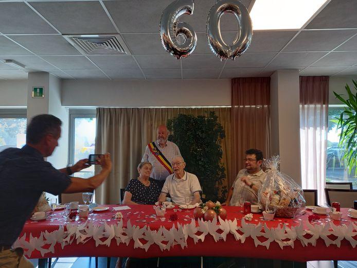 Yvon Colin en Louisa Van Der Borcht vierden deze maand hun diamanten  huwelijksfeest in woonzorgcentrum De Maretak.