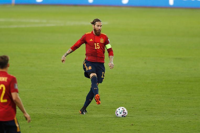 Ramos in het shirt van Spanje: een beeld dat we niet zullen zien op het EK. Beeld BELGAIMAGE