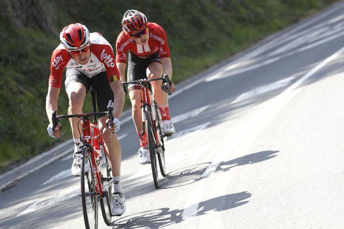 Sander Armee (Team Lotto Soudal) met Michael Storer (Team Sunweb).