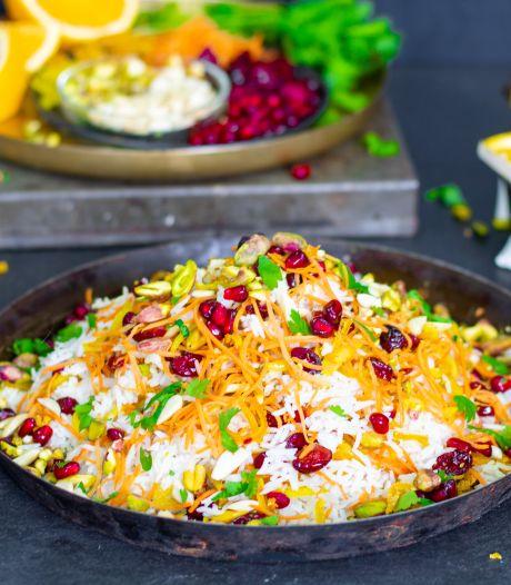 Wat Eten We Vandaag: Perzische juwelenrijst met sinaasappel-karamelkip