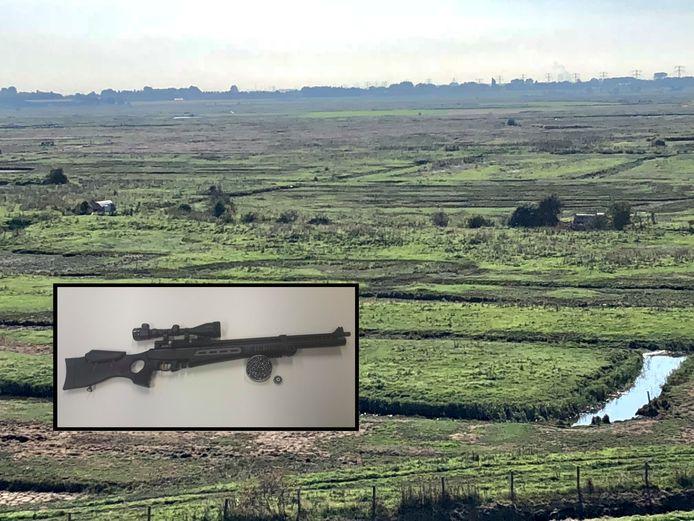 Natuurgebied Yerseke Moer, inzet: het in beslag genomen wapen.