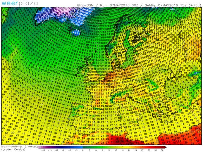Nederland kleurt rood van de warmte in een zee van groen en geel