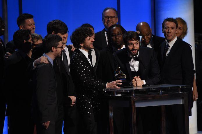 Marc Altink op de achtergrond tijdens de uitreiking van de Grammy