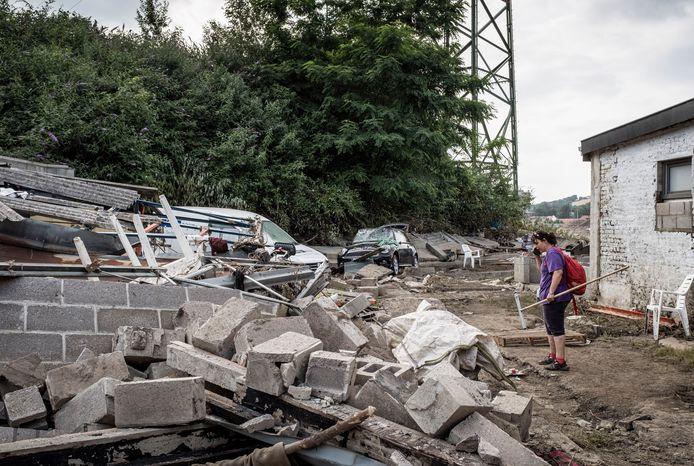 Une maison en ruines à Pepinster, durement touchée par les inondations, le 19 juillet 2021.