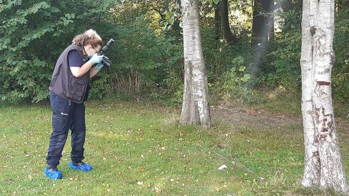 Sporenonderzoek in het Zuiderpark, waar op 7 september een ernstig zedenmisdrijf werd gepleegd.