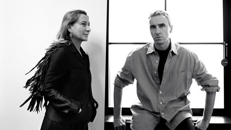 Miuccia Prada en Raf Simons. Beeld Prada/ Willy Vanderperre & Brigitte Lacombe