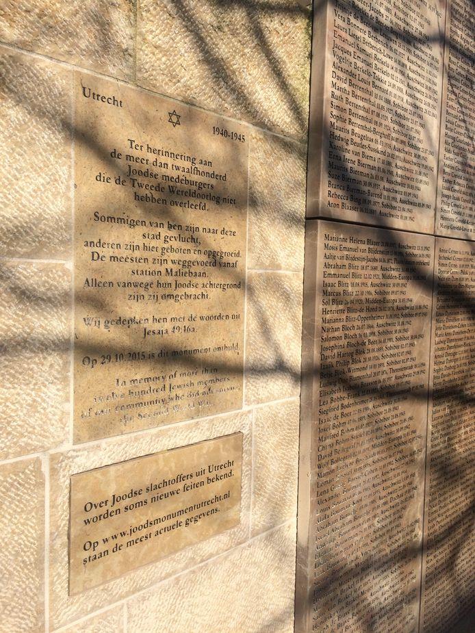 Het Joods Oorlogsmonument met daarop de plaquette met de verwijzing naar de website met aanvullingen en correcties.