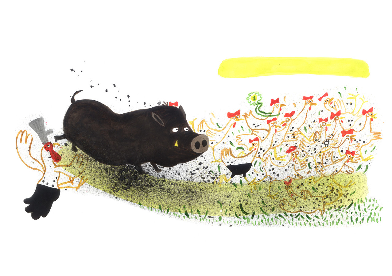 Illustratie uit het boek 'Hup Herman!' van Yvonne Jagtenberg.